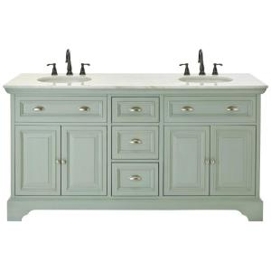 Vanity in antique light cyan with natural marble vanity top in white - Home Decorators Collection Sadie 67 In W Double Bath