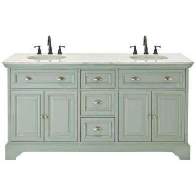 Sadie 67 in. W Double Bath Vanity in Antique Light Cyan with Natural Marble Vanity Top in White