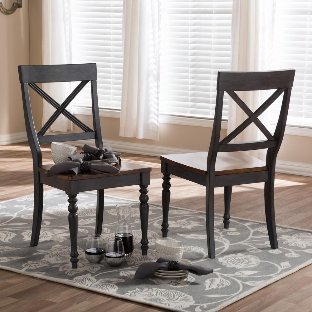 Baxton Studio Rosalind Gray and Medium Brown Wood Dining Chairs (Set