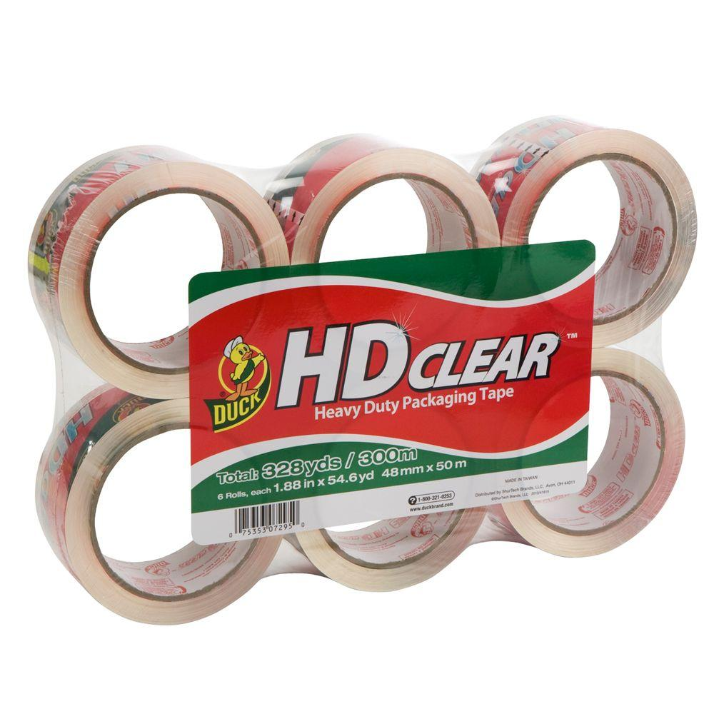 Duck 1.88 ft. x 54.6 yds. High Performance Clear Packaging Tape (6-Pack)