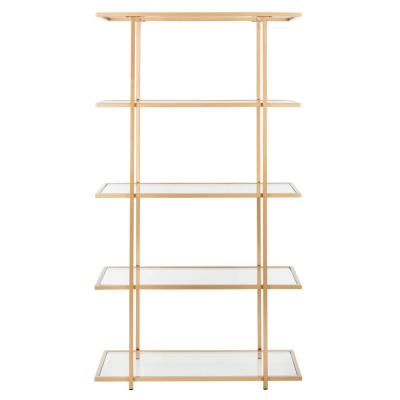72 in. Gold/Clear Metal 5-shelf Etagere Bookcase with Open Back