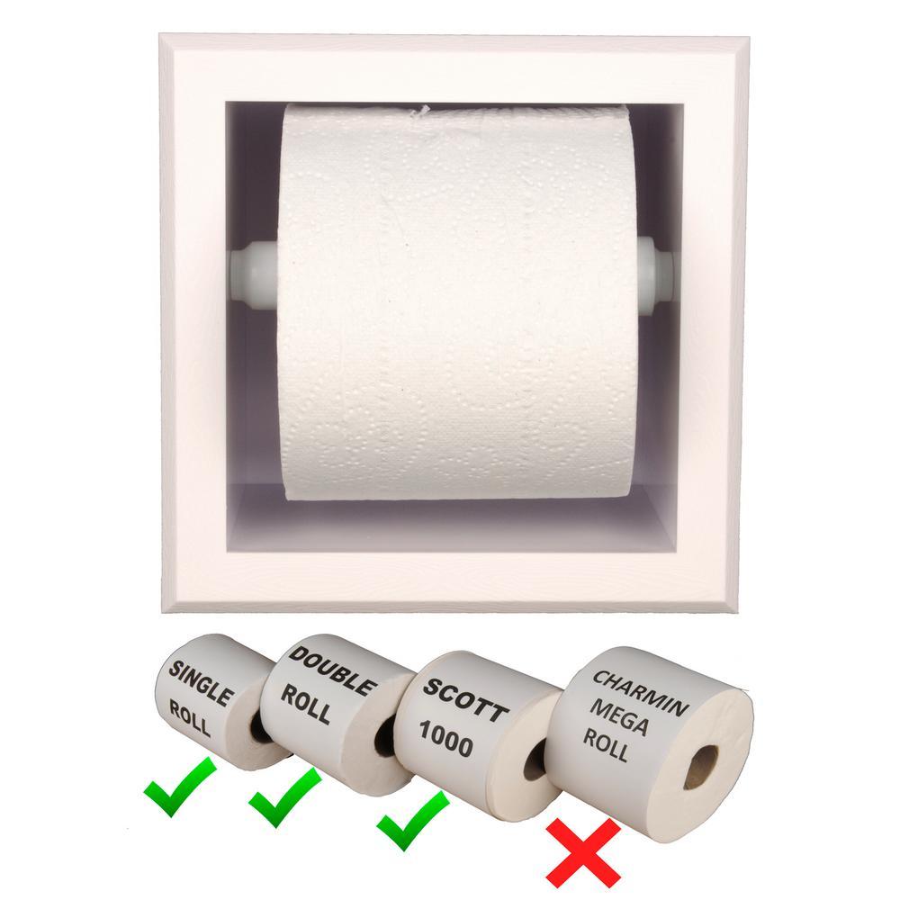 Bradford Plastic Toilet Paper Holder In White With Bevel Frame