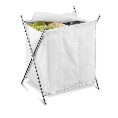 Folding Triple Laundry Sorter, White/Chrome