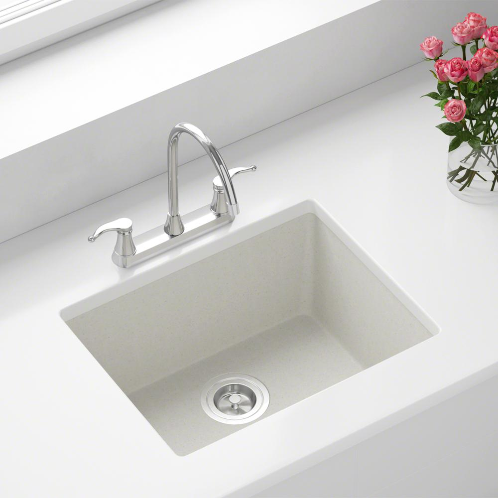 MR Direct Dualmount Granite Composite 22 in. Single Bowl Kitchen Sink in  White