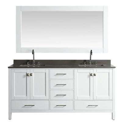 London 72 in. W x 22 in. D Vanity in White with Quartz Vanity Top in Gray with White Basin and Mirror