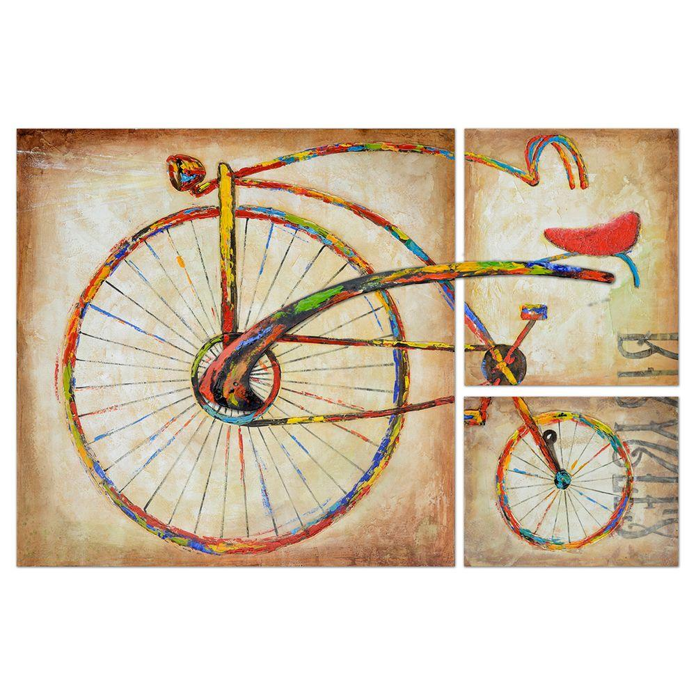 Yosemite Home Decor 59 in. x 39 in. Bicycle Fun II Hand Painted Contemporary Artwork-DISCONTINUED