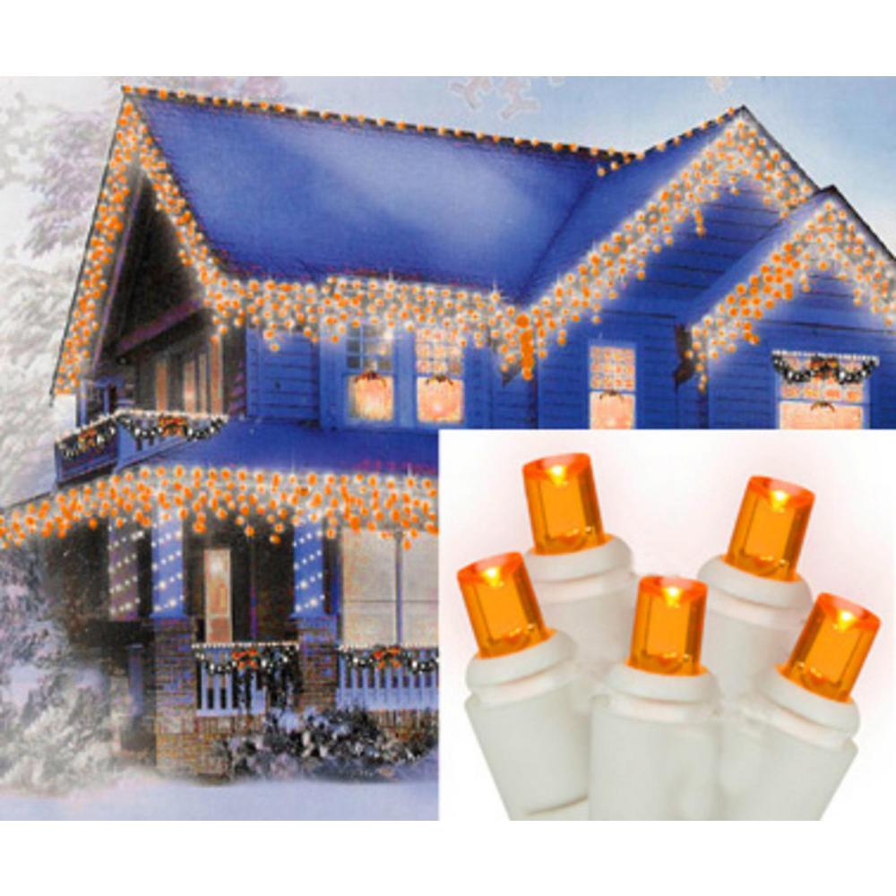 the best attitude 0635e cbfa4 Sienna Set of 70 Amber-Orange LED Wide Angle Icicle Christmas Lights -  White Wire