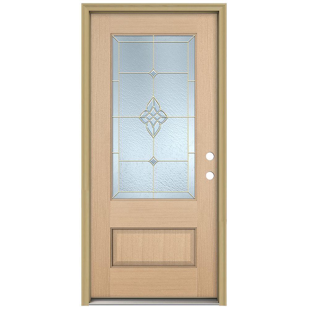 JELD-WEN 36 in. x 96 in. Rosemont 3/4 Lite Unfinished Hemlock Wood Prehung Front Door with Brickmould and Brass Caming