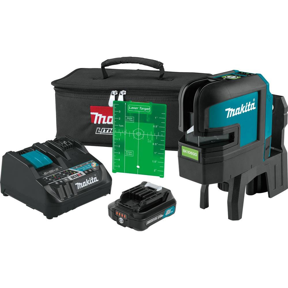 Makita 12-Volt MAX CXT Self-Leveling Cross-Line/4-Point Green Laser Kit (2.0 Ah)