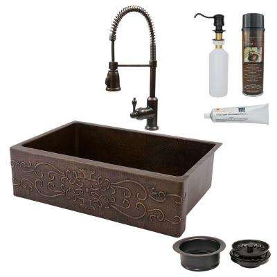 All-in-One Farmhouse Apron-Front Copper 33 in. Single Basin Kitchen Sink with Scroll Design in Oil Rubbed Bronze