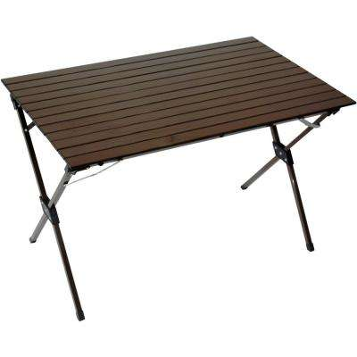 Brown Aluminum Rectangle Picnic Table with Bag