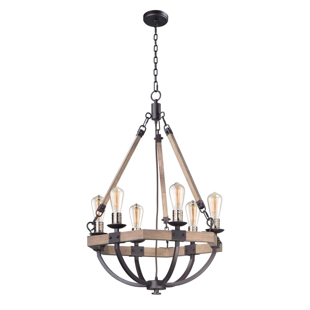Maxim Lighting Lodge 6-Light Weathered Oak / Bronze Chandelier