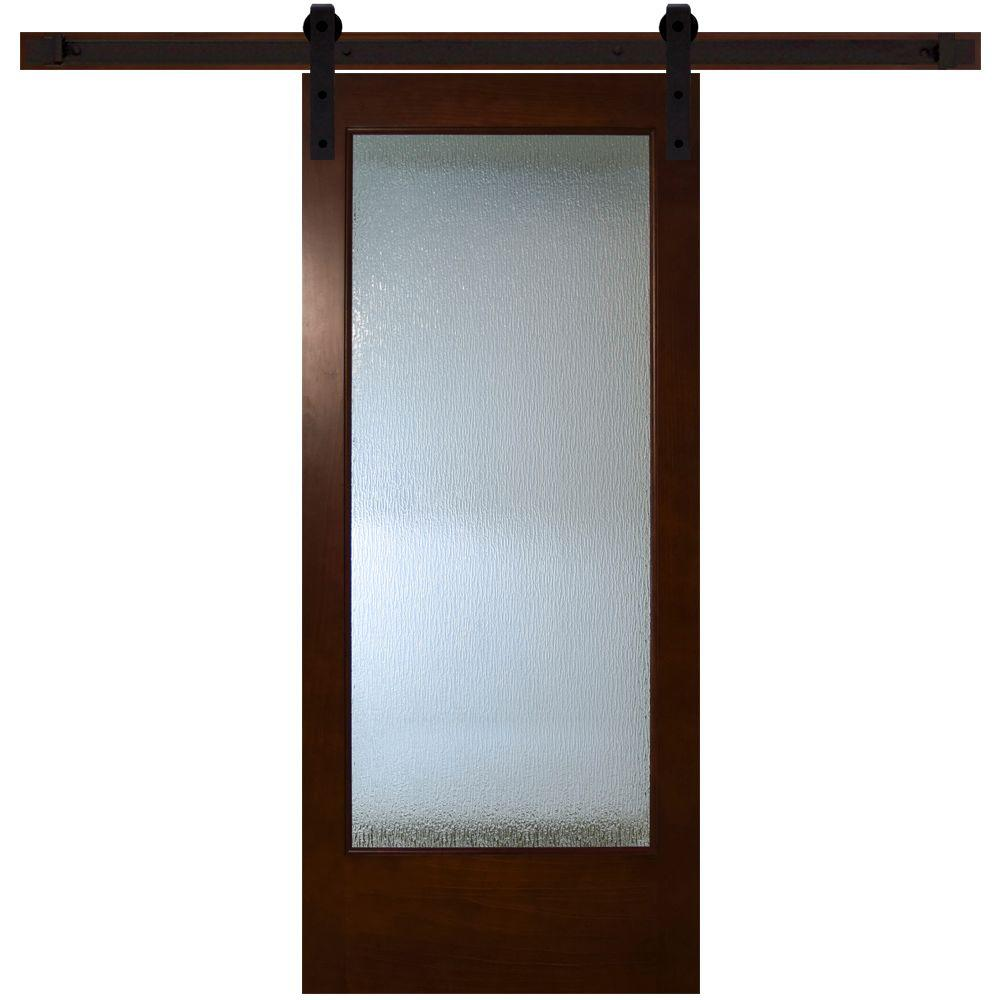 Modern Full Lite Rain Glass Stained Pine Interior Barn Door With Sliding Door  Hardware Kit