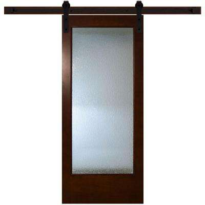 Modern Full Lite Rain Glass Stained Pine Interior Barn Door With Sliding  Door Hardware