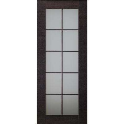 32 in. x 80 in. Avanti Black Apricot Finished Solid Core Wood 10-Lite Frosted Glass Interior Door Slab No Bore