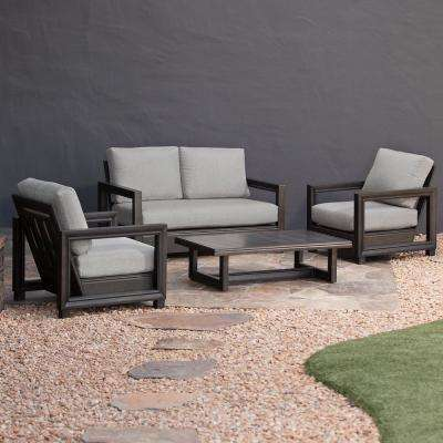 Russell 4-Piece Aluminum Patio Conversation Set with Grey Cushions