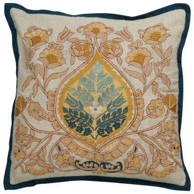 White Swan Floral Square Indoor Throw Pillow