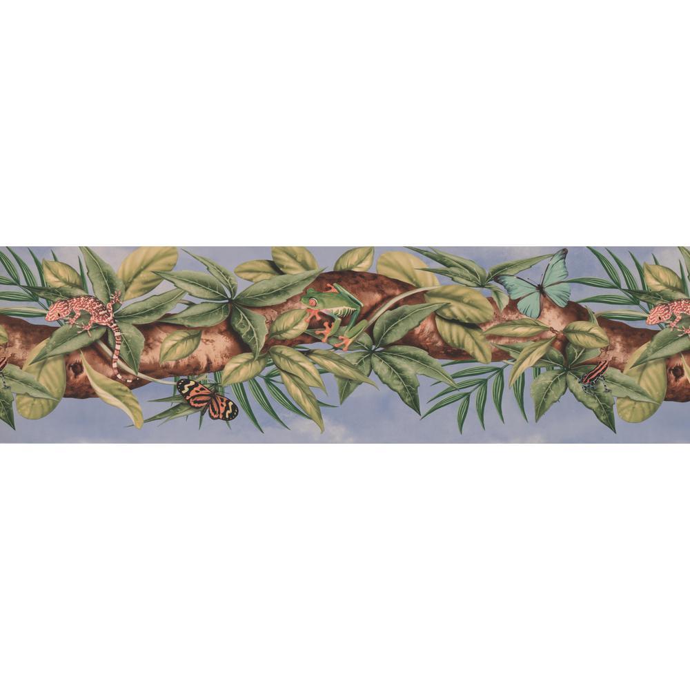 JUNGLE BRANCH FROGS LIZARDS AND BUTTERFLIES SKY BLUE Wallpaper bordeR Wall