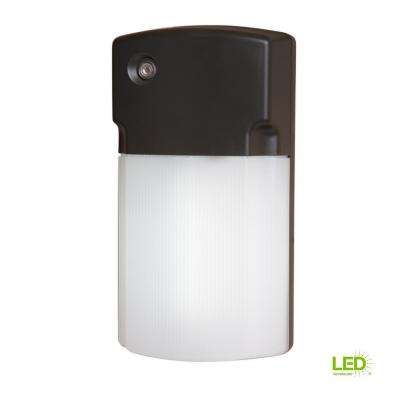 Bronze Integrated LED Wall Pack Light with Dusk to Dawn Photocell Sensor, 1100 Lumens, 3500K Bright White