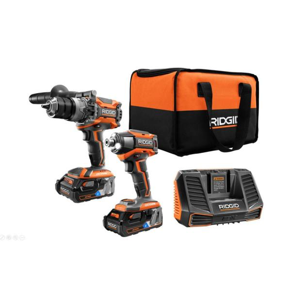RIDGID 18-Volt OCTANE Lithium-Ion Cordless Brushless Combo Kit with Hammer Drill, Impact Driver, (2) 3.0 Ah Batteries, Charger