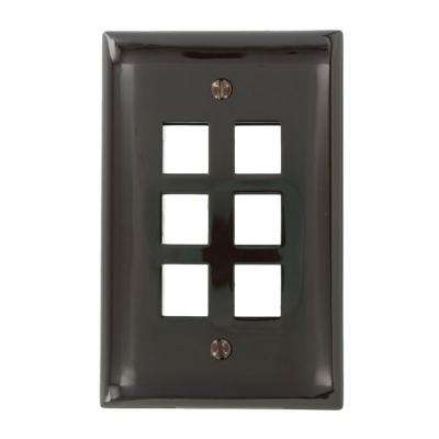 1-Gang QuickPort Midway Size 6-Port Wallplate, Brown