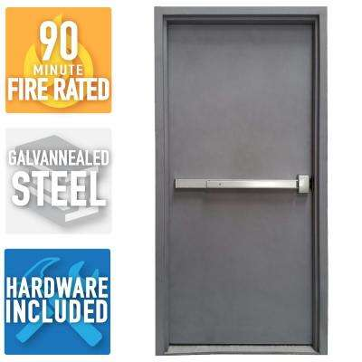 36 in x 84 in firerated gray lefthand flush steel