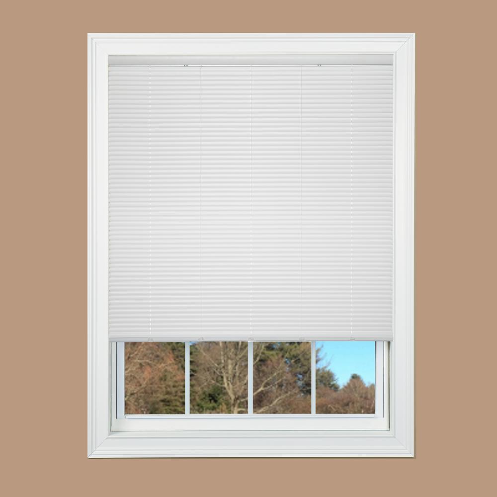 Cut To Width White Cordless 1 In Duplex Vinyl Mini Blind 28 5 In
