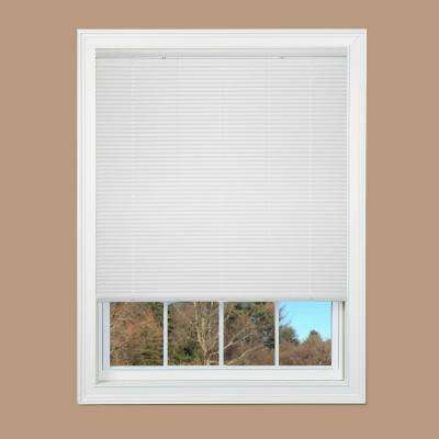 Cut-to-Width White Cordless 1 in. Duplex Vinyl Mini Blind - 60 in. W x 64 in. L
