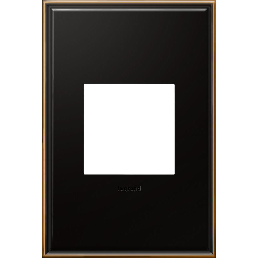 1 Gang 2 Module Wall Plate, Oil Rubbed Bronze, Beaded Border