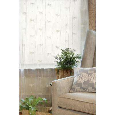 Dragonfly White Lace Curtain 45 in. W 84 in. L