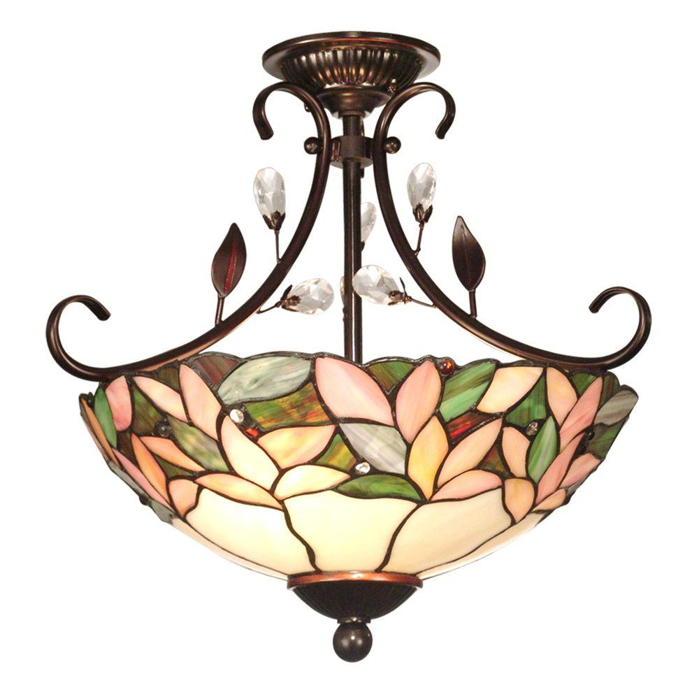 Dale Tiffany Tiffany Crystal Leaf Collection 2-Light Ceiling An -DISCONTINUED