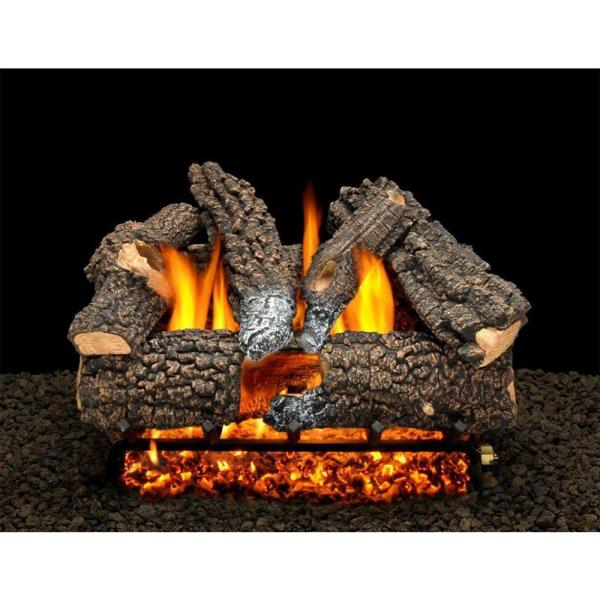 Aspen Whisper 30 in. Vented Natural Gas Fireplace Logs, Complete Set with Pilot Kit and On/Off Variable Height Remote