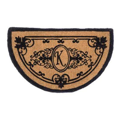 Perfect Home Hamilton Half Circle Monogram Mat 18 in. x 30 in. x 1.5 in. Monogram K-DISCONTINUED
