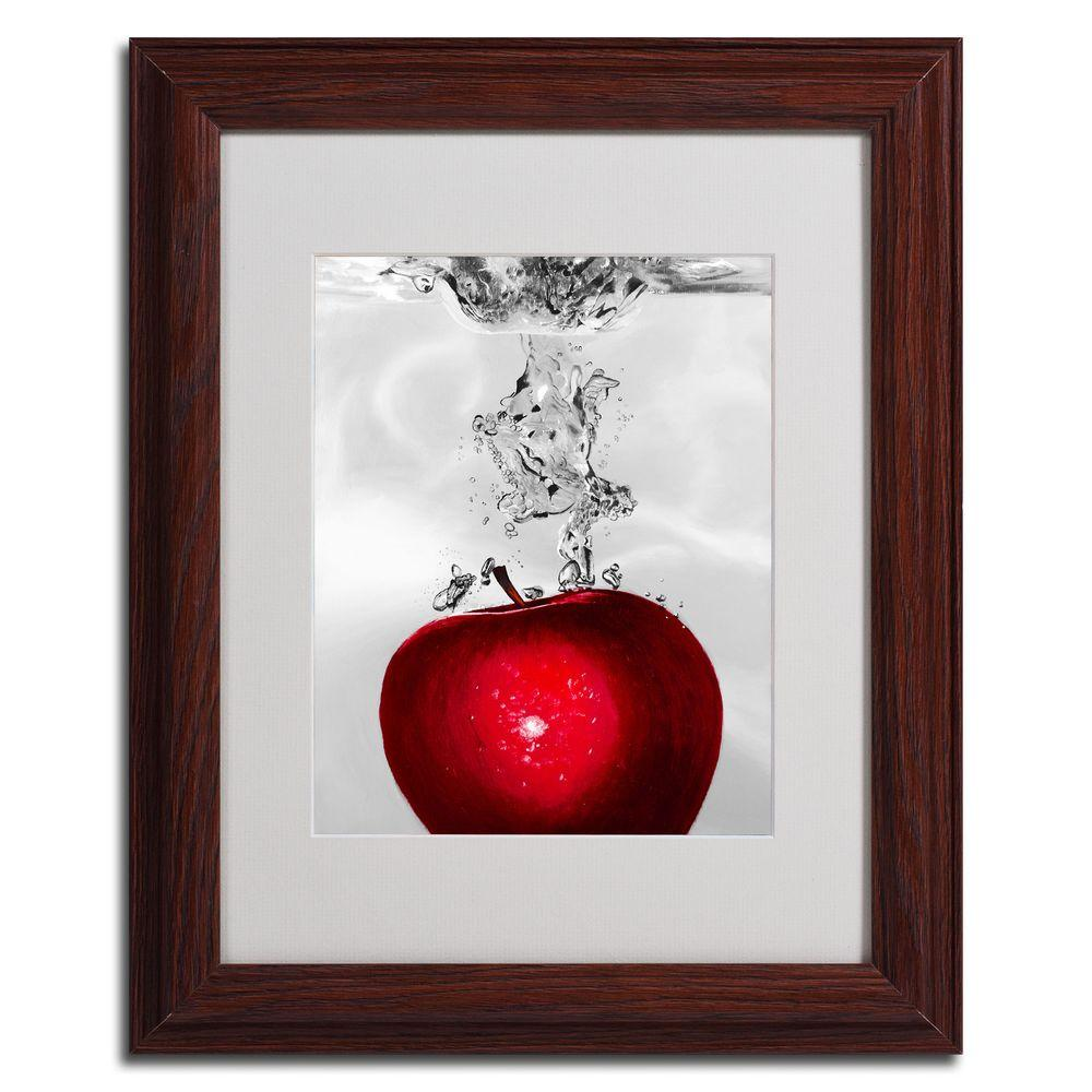 16 in. x 20 in. Red Apple Splash Dark Wooden Framed Matted Art-RS012 ...