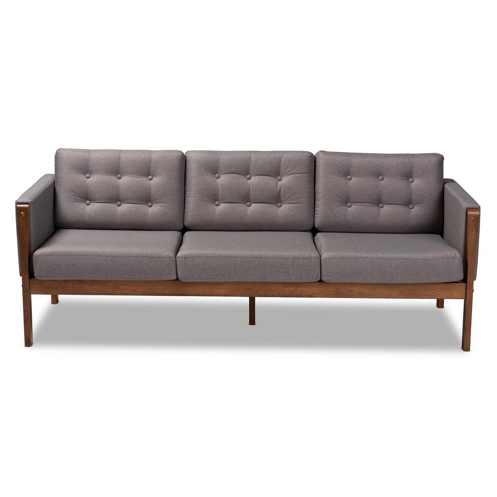 Lenne 75 in. Gray Fabric 3-Seater Bridgewater Sofa with Walnut Frame