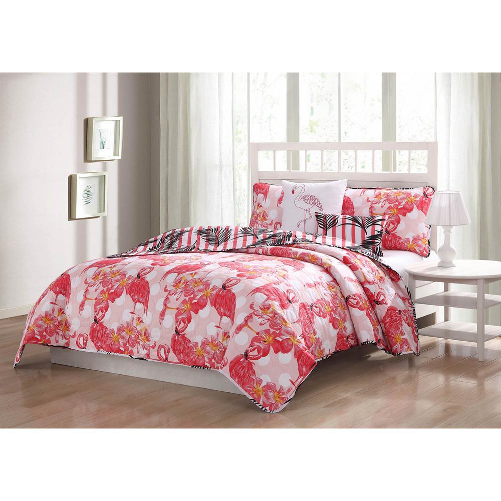 Flamingo Reversible 5-Piece King Quilt Set
