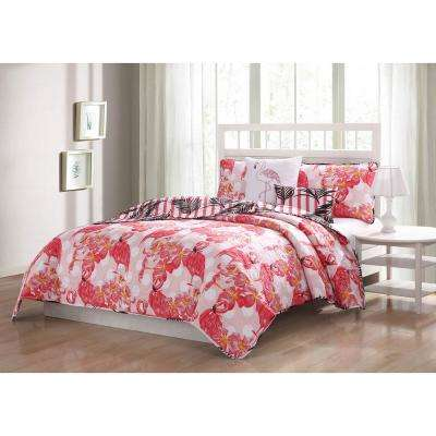 Flamingo Reversible 5-Piece King Quilt Set