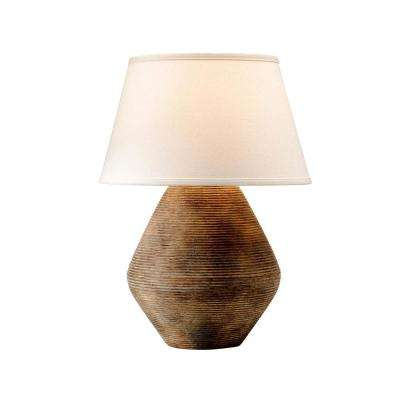 Calabria 22 in. Rustco Table Lamp with Off-White Linen Shade