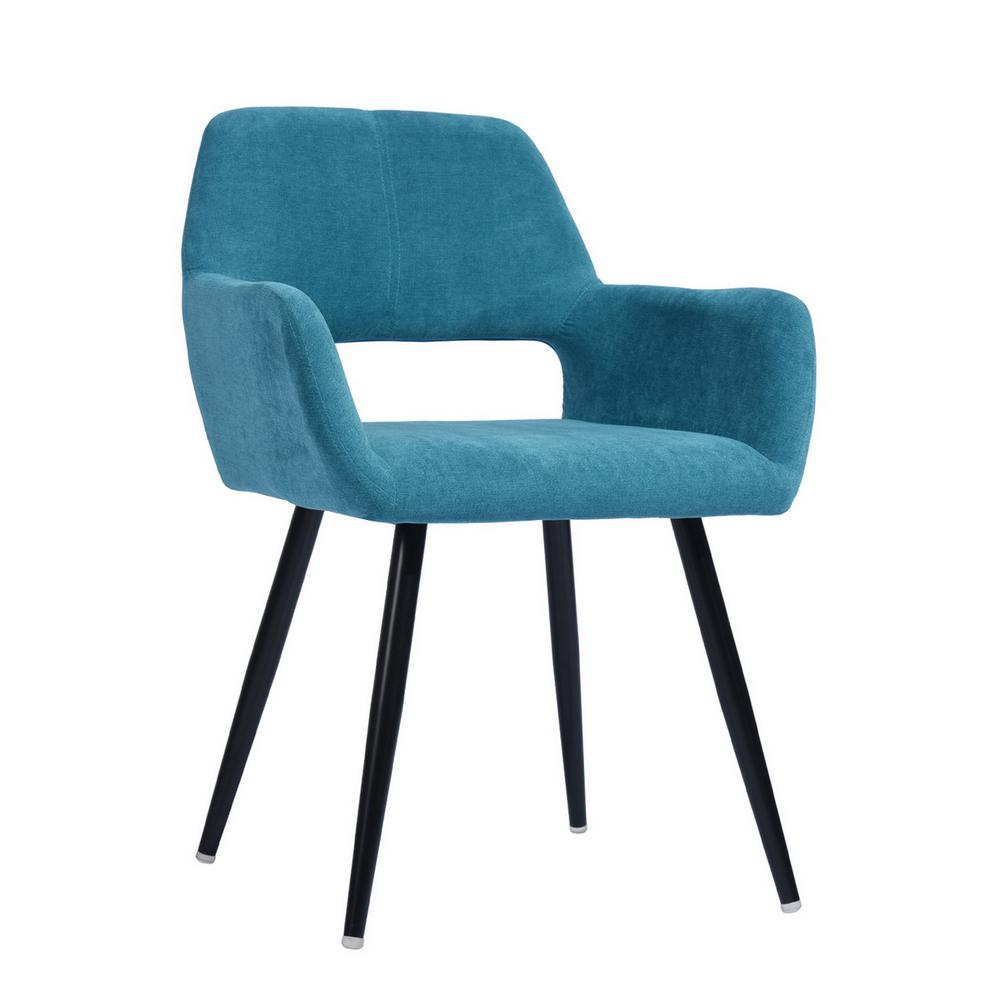 Cromwell Light Blue Fabric Upholstered Hollow Design Armrest Side Chair