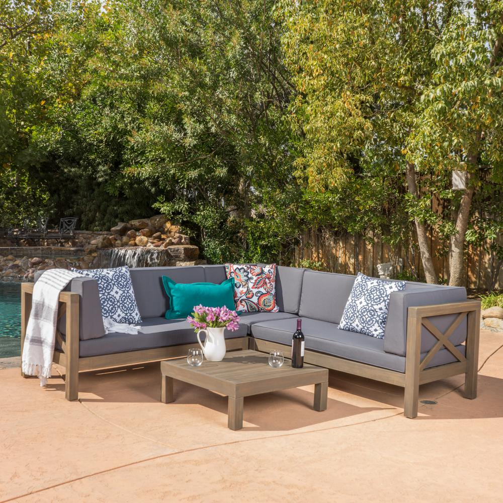 Noble House Brava Grey 4 Piece Wood Outdoor Sectional Set With Dark Grey  Cushions