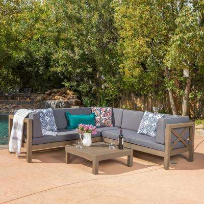 Brava Grey 4-Piece Wood Outdoor Sectional Set with Dark Grey Cushions