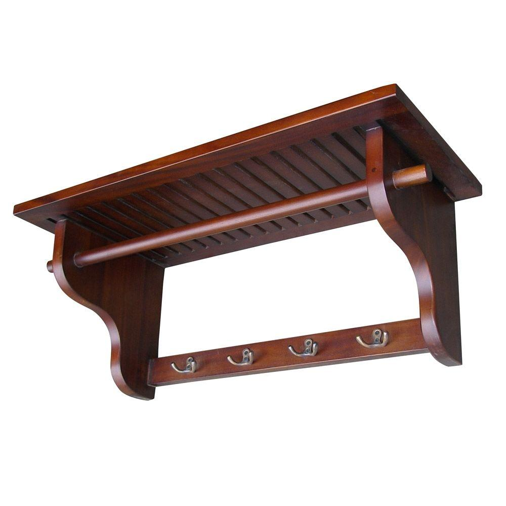 Home Decorators Collection Mahogany Wall Mounted Coat Rack Dwh001 The Home Depot