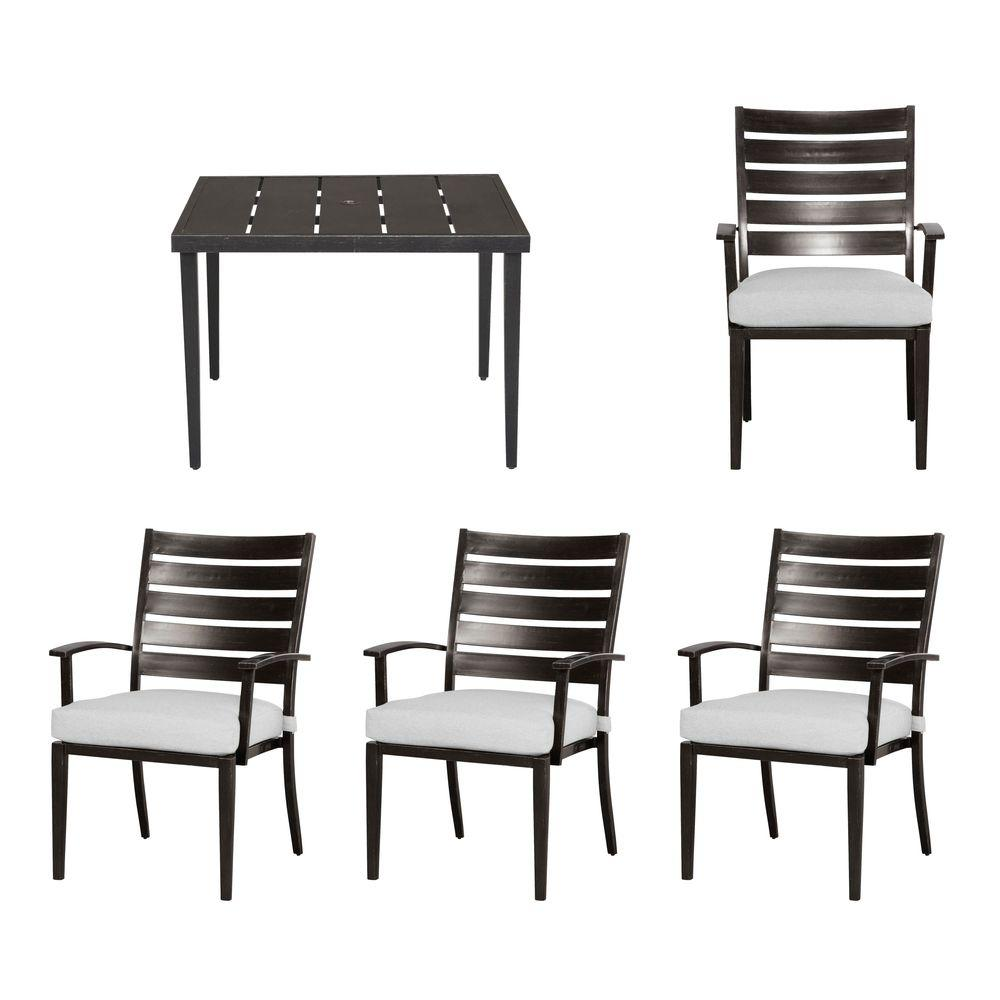 Hampton Bay Marshall 5-Piece Patio Dining Set with Cushion Insert (Slipcovers Sold Separately)