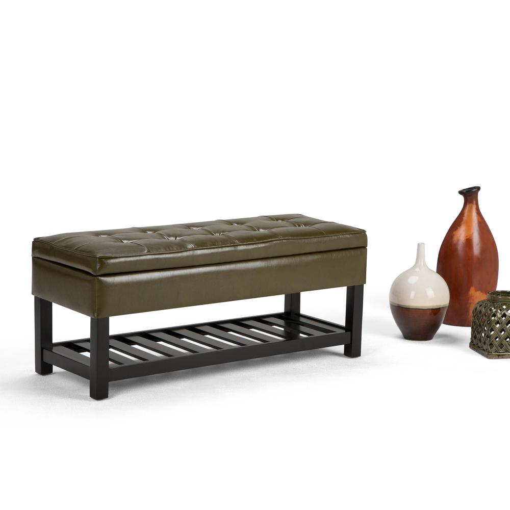 Cosmopolitan Deep Olive Green Storage Bench