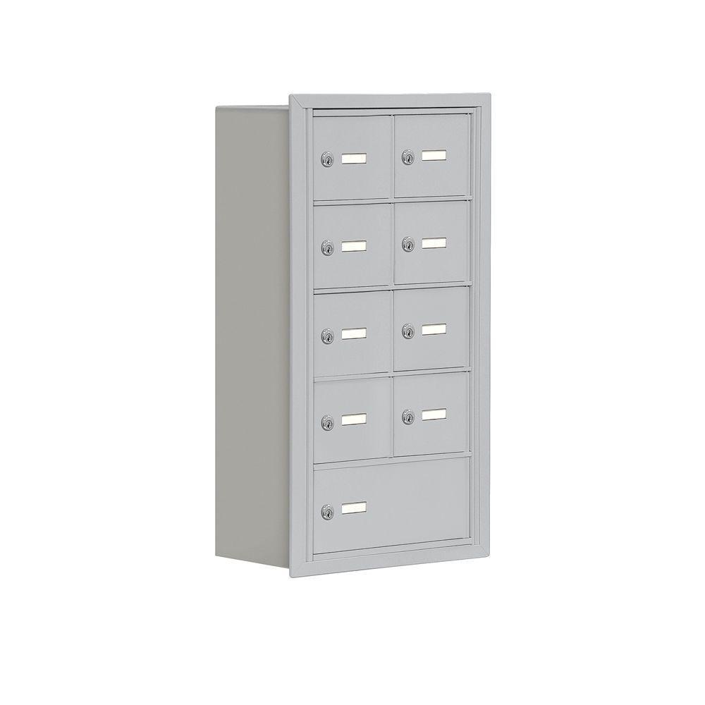 Salsbury Industries 19000 Series 17.5 in. W x 31 in. H x 8.75 in. D 8 A / 1 B Doors R-Mount Keyed Locks Cell Phone Locker in Aluminum