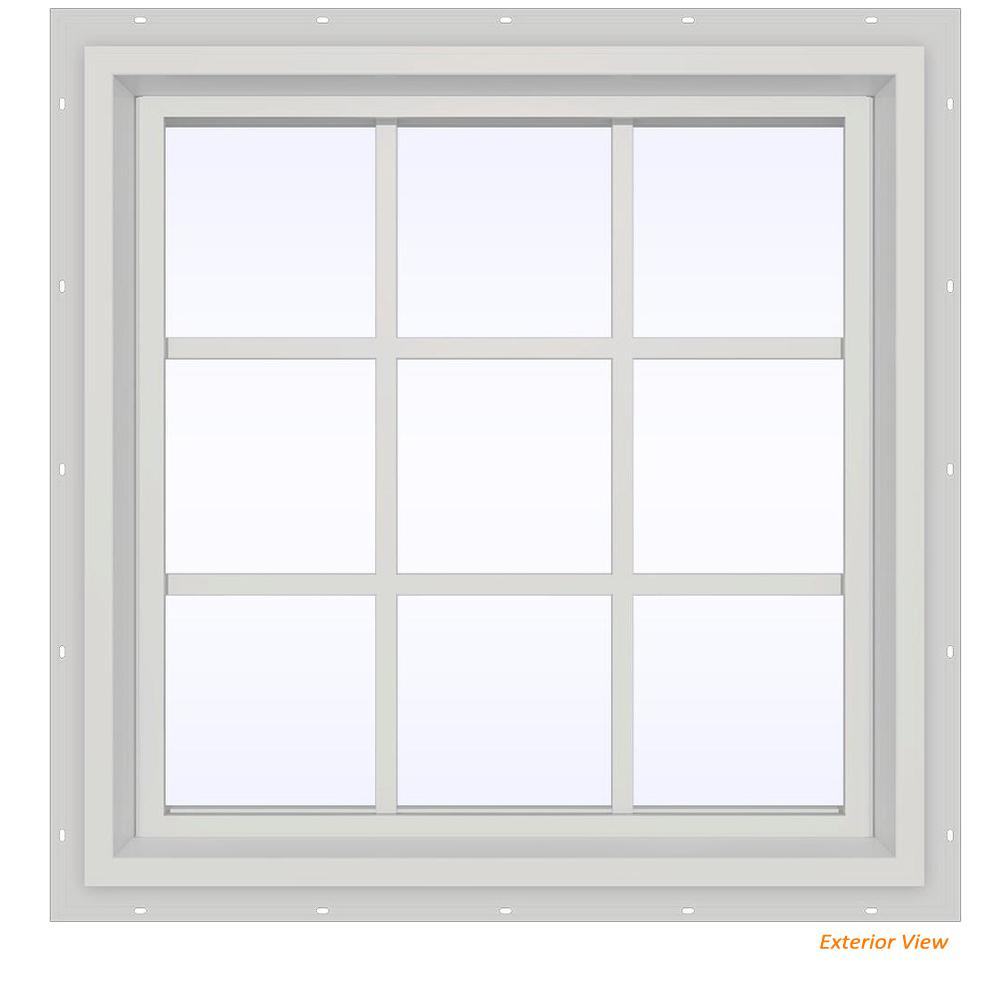 V 4500 Series White Vinyl Fixed Picture Window With Colonial Grids Grilles