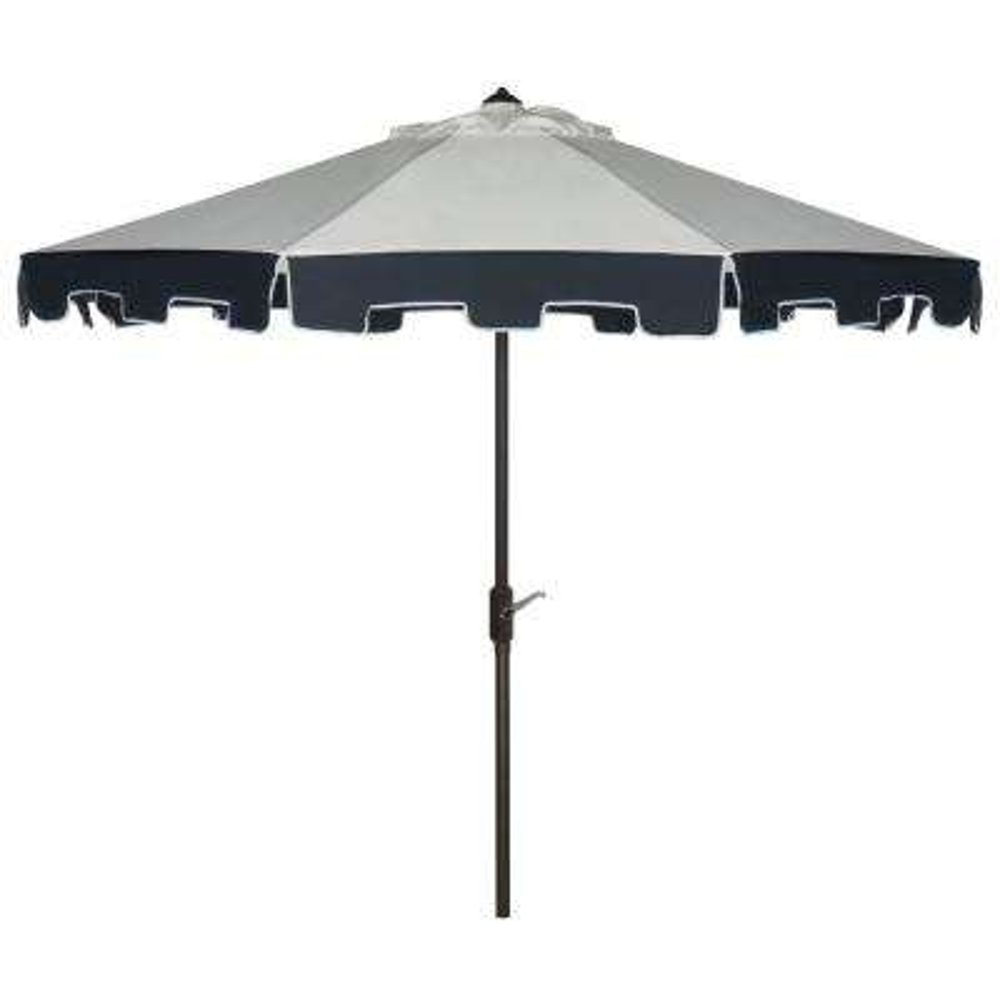City 9 ft. Aluminum Market Auto Tilt Patio Umbrella in Beige/Navy