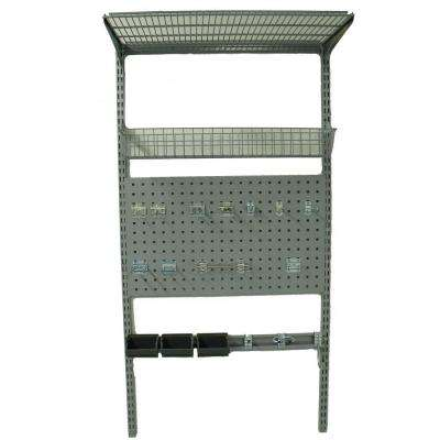 33 in. L x 63 in. H LocBoard Wall Mount Storage System with LocBoard, LocHook Asst, Wire Shelf and Basket, Hanging Bins