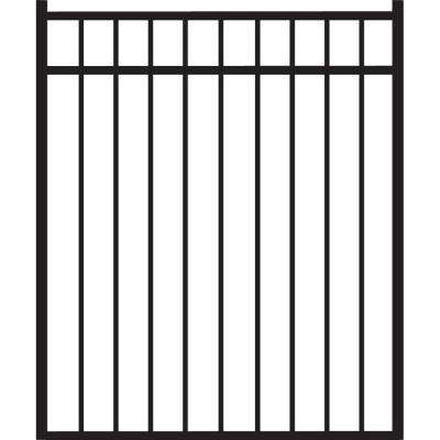 Natural Reflections 4 ft. W x 4.5 ft. H Black Standard-Duty Aluminum Straight Pre-Assembled Fence Gate