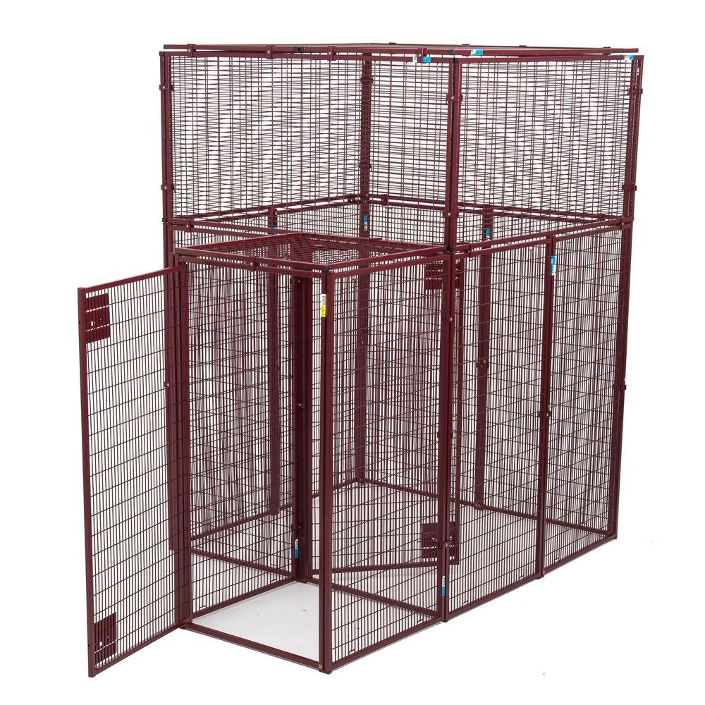 Lucky Dog Animal House 60 in. L x 60 in. W x 90 in. H Flat Covered Enclosure with Double Door Security Entrance